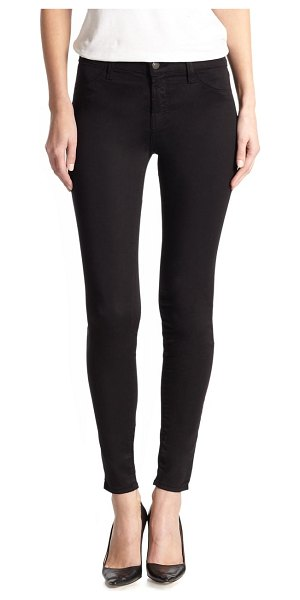 J Brand mid-rise luxe sateen super skinny jeans in black