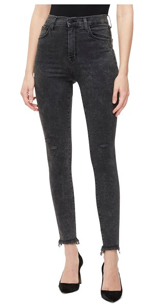 J Brand Leenah High-Rise Ankle Skinny Jeans in gray