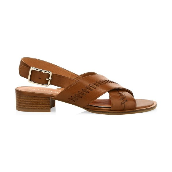 Jack Rogers amelia braided leather city slingback sandals in luggage