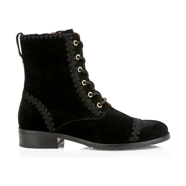 Jack Rogers gemma suede lace-up booties in midnight,black