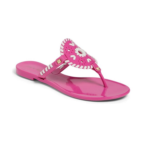 Jack Rogers 'georgica' jelly flip flop in brightpink/whit