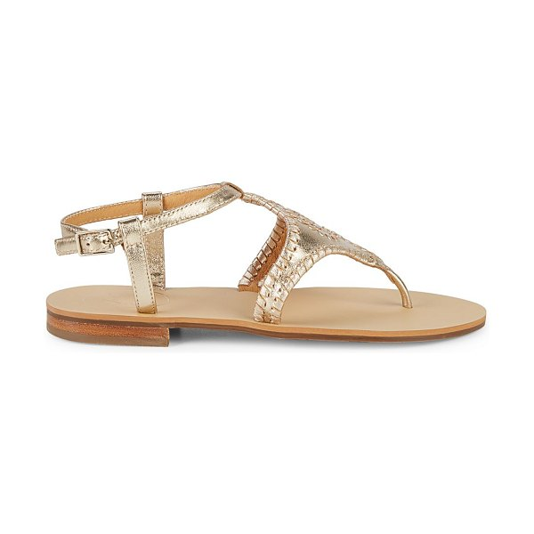 Jack Rogers Maci Leather Thong Sandals in platinum