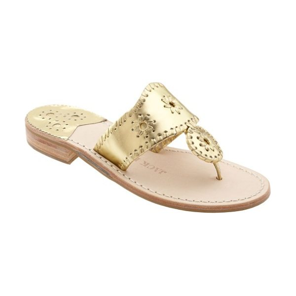 Jack Rogers whipstitched flip flop in gold