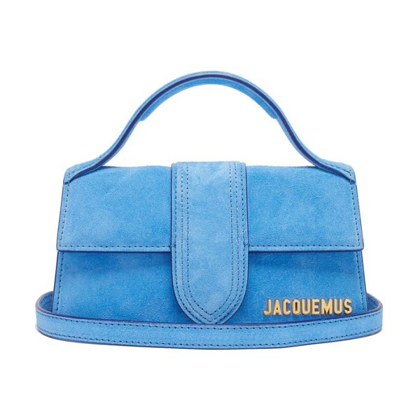JACQUEMUS bambino suede bag in blue