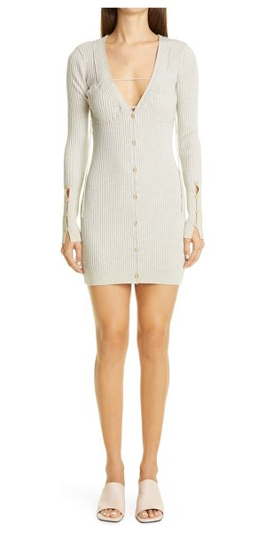 JACQUEMUS lauris long sleeve merino wool mini sweater dress in light grey