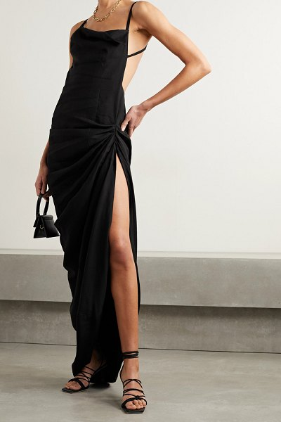 JACQUEMUS saudade open-back ruched twill maxi dress in black