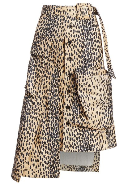 JACQUEMUS thika leopard belted flap pocket high-low a-line skirt in printed leopard