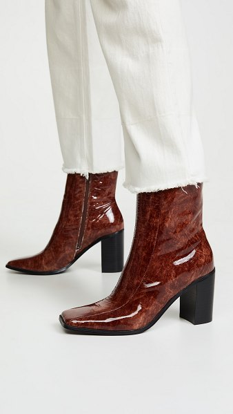 JAGGAR bold block heel ankle boots in chocolate