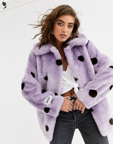 Jakke coat mid length coat in spot faux fur in lilacpolka