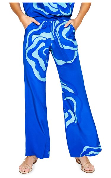 Jaline Lisa Printed Lounge Pants in blue swirl