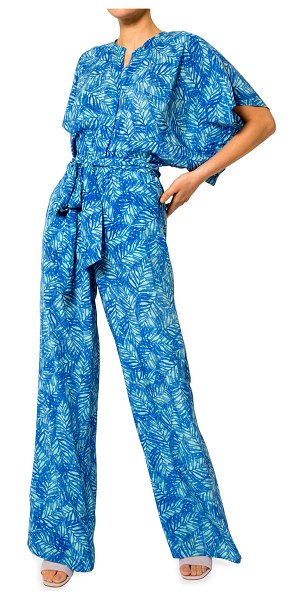 Jaline Natasha Foliage-Motif Jumpsuit in blue leaves