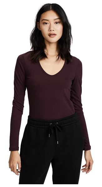 James Perse long sleeve tee in wine - A scoop-neck James Perse pullover in lightweight jersey....