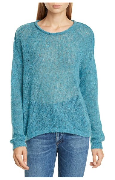 James Perse loose stitch wool & cashmere sweater in peacock