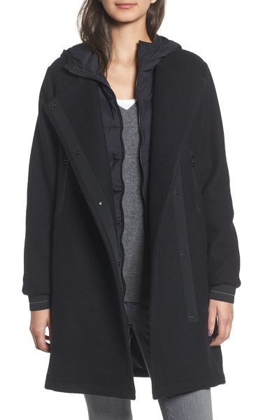 James Perse mixed media parka in black - A quilted, down-filled nylon lining peeks from the front...