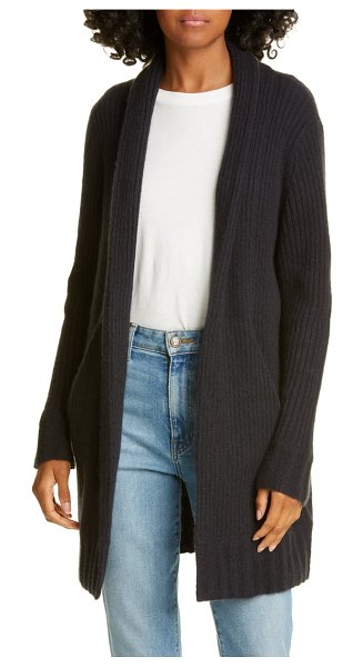 James Perse open front ribbed cashmere cardigan in black
