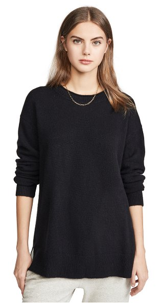 James Perse oversized crew neck cashmere sweater in black/heather grey