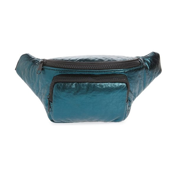 Jane & Berry metallic faux leather belt bag in green metallic - Peacock-hued metallic leather defines this trendy belt...
