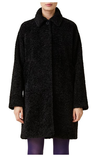 JANE POST jane faux-fur teddy coat in black