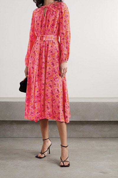 Jason Wu belted floral-print crepon midi dress in pink