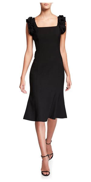 Jason Wu Collection Stretch Wool Crepe Flounce Dress in black