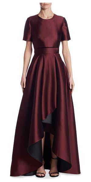 Jason Wu double-faced asymmetrical gown in vine - Elegant flowing gown with back cutout. Roundneck. Short...