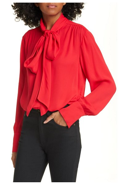 Jason Wu tie neck blouse in vermillion