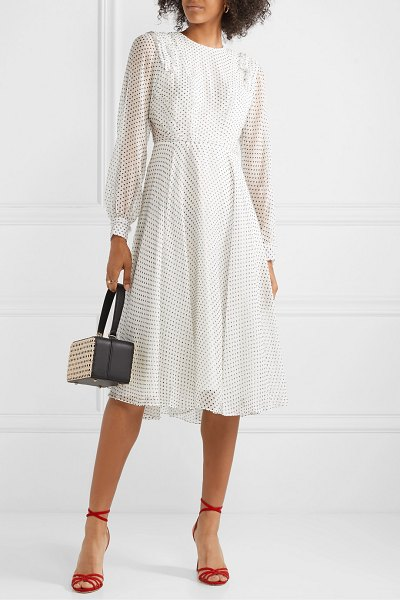 Jason Wu ruffled polka-dot silk-voile midi dress in white