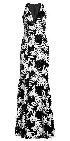 Jay Godfrey drai sequin palm-print gown in black multi