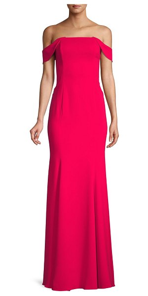 Jay Godfrey Off-The-Shoulder Formal Gown in cherry red