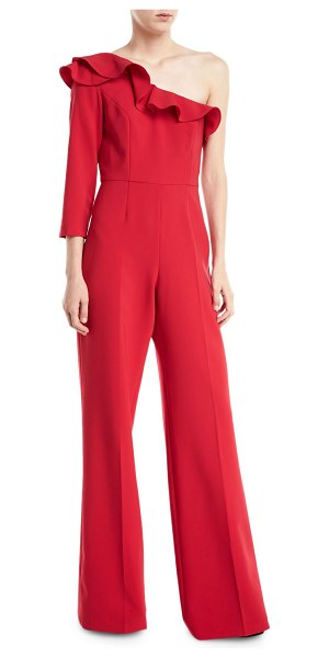 "Jay Godfrey Pogge One-Shoulder Ruffle Wide-Leg Jumpsuit in poppy - Jay Godfrey ""Pogge"" jumpsuit. Approx. 62""L from shoulder..."