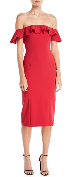 "Jay Godfrey Rollins Off-the-Shoulder Ruffle Cocktail Dress in poppy - Jay Godfrey ""Rollins"" ruffle dress. Approx. 44""L from..."