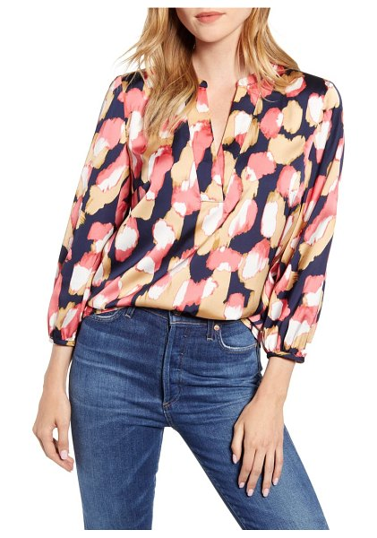 J.Crew midnight floral open v-neck top in navy coral