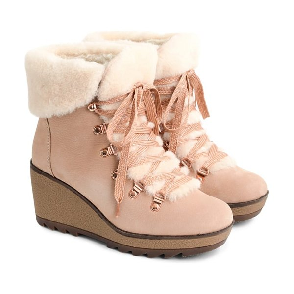 J.Crew nordic wedge bootie in suble pink leather