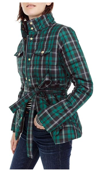 J.Crew plaid belted puffer jacket in women~~jacket/sportcoat~~jacket - A slim-fitting puffer that's super-warm, ultra-stylish...