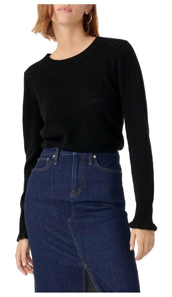 J.Crew pointelle cashmere sweater in black