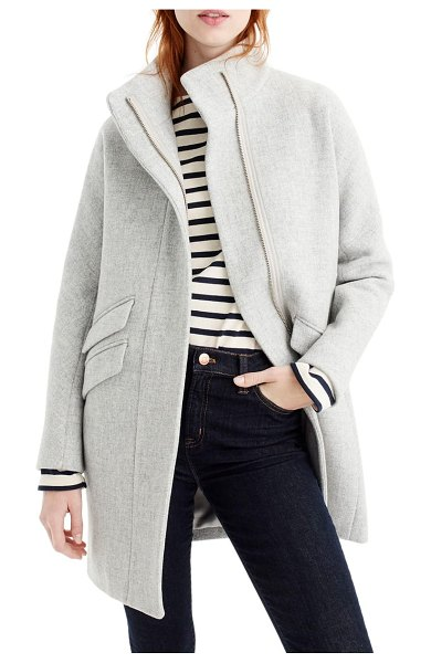 J.Crew stadium cloth cocoon coat in grey - A cozy cocoon coat delivers warmth without bulk, thanks...