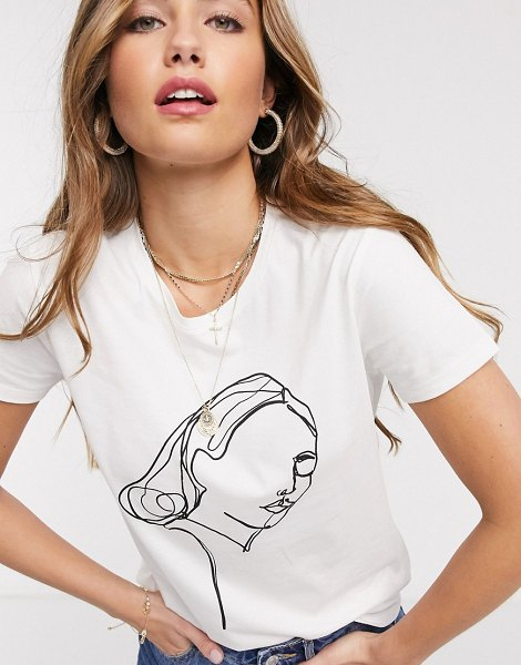 JDY printed t-shirt in white in white