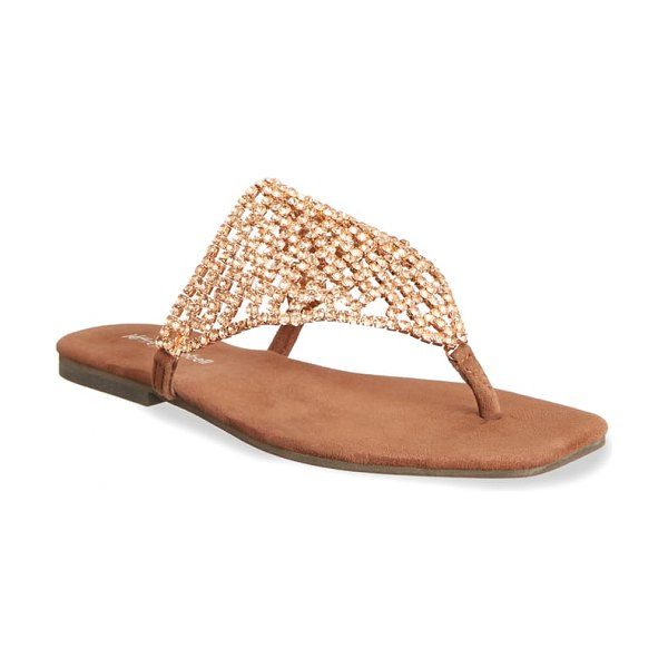 Jeffrey Campbell abelia crystal embellished sandal in brown - A veil of crystals forms the strap of a glittery sandal...