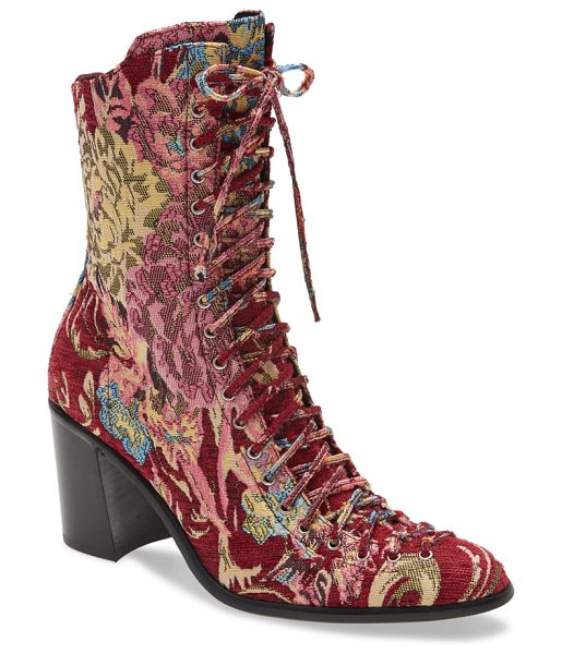 Jeffrey Campbell archille lace-up boot in red tapestry
