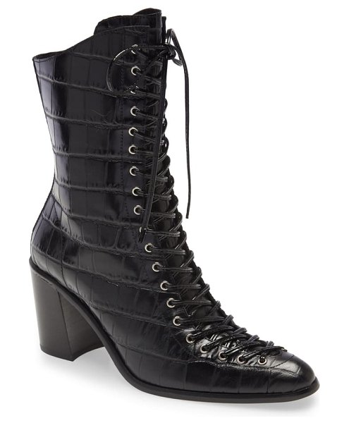 Jeffrey Campbell archille lace-up boot in black crocodile
