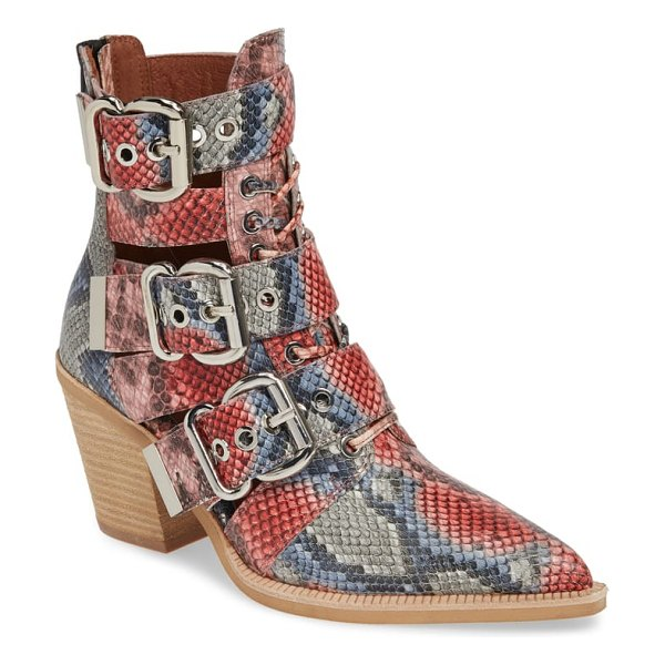 Jeffrey Campbell caceres bootie in red - Gleaming exploded-scale buckles punctuate the belted...