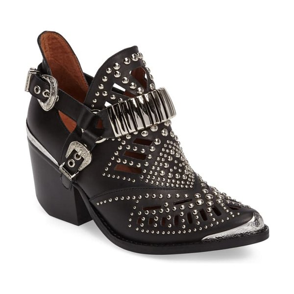 Jeffrey Campbell 'calhoun' cutout bootie in black silver leather