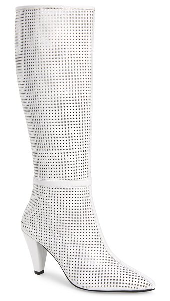 Jeffrey Campbell candle knee high boot in white leather