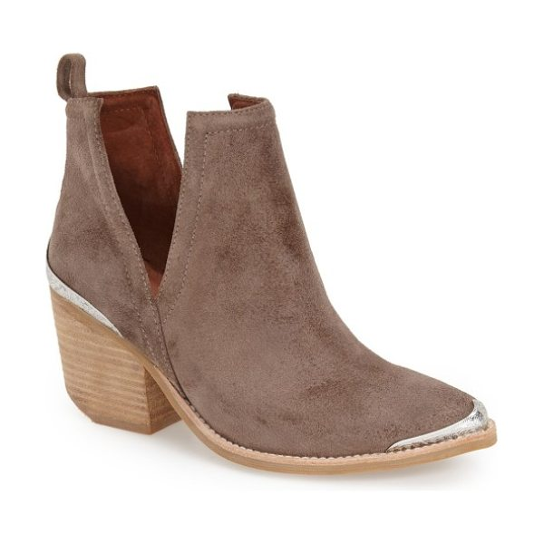 Jeffrey Campbell cromwell cutout western boot in taupe distressed suede