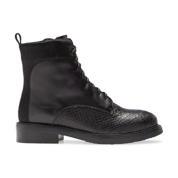Jeffrey Campbell fischer lace-up leather boot in grey exotic multi