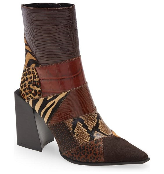 Jeffrey Campbell la-siren mixed media bootie in tan exotic multi