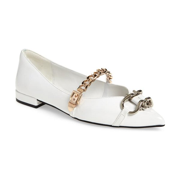 Jeffrey Campbell lavinia flat in white/ gold/ silver