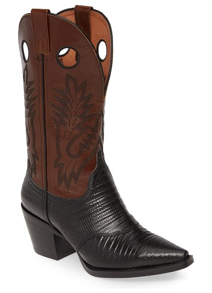Jeffrey Campbell old town western boot in black lizard print/ brown