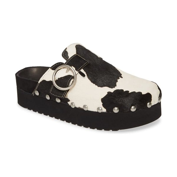 Jeffrey Campbell osha genuine calf hair clog in black white cow print