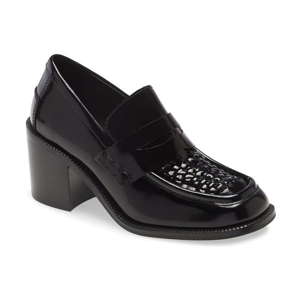Jeffrey Campbell sims block heel loafer in black box